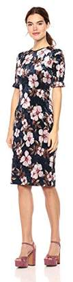Wild Meadow Women's Midi Short Sleeve Printed Velvet Dress XS