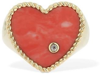 Leon Yvonne Paris 9kt Chevaliere Coeur Coral Ring