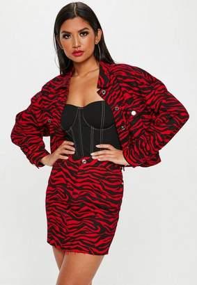 Missguided Red Zebra Print Denim Mini Skirt