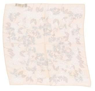 Halston Floral Print Silk Pocket Square