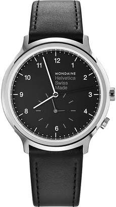 Mondaine MH1-R2020-LB Helvetica No1 Regular leather and stainless steel watch