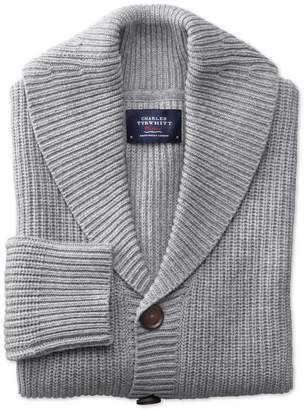 Light Grey Rib Shawl Collar Wool Cardigan Size Large by Charles Tyrwhitt
