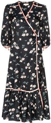 By Ti Mo byTiMo floral print contrast trim wrap dress