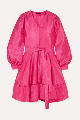 Stine Goya Farrow Ruffled Crinkled-taffeta Mini Dress - Pink