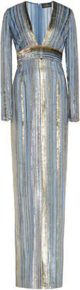 J. Mendel Long Sleeve V-Neck Metallic Striped Gown