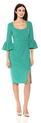 Donna Morgan Women's 3/4 Bell Sleeve Scoop Neck Crepe Sheath Dress
