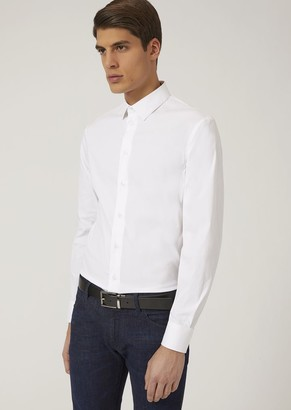 Emporio Armani Slim Fit Shirt In Stretch Cotton
