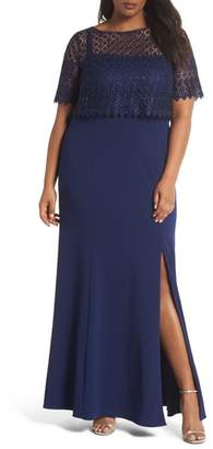 Adrianna Papell Guipure Popover Crepe Gown