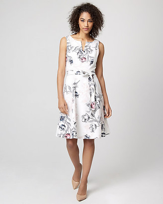 Le Château Floral Print Stretch Twill Fit & Flare Dress