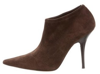 Casadei Suede Pointed-Toe Ankle Boots $175 thestylecure.com