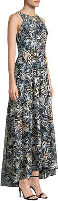 Tahari ASL Soutache Floral Embroidered A-Line Evening Gown