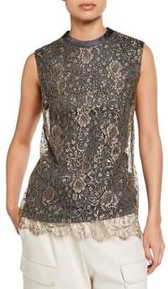 Brunello Cucinelli Sleeveless Metallic Lace Top