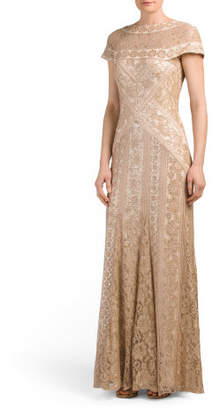 Sequin Lace Gown With Illusion Panel