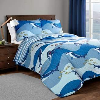 Lush Decor Shark Allover Quilt Set Blue