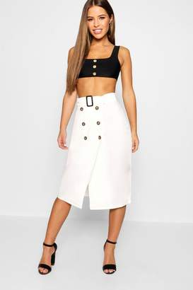 boohoo Petite Belted Mock Horn Button Midi Skirt
