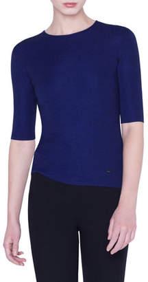 Akris Cashmere-Silk Fil a Fil 1/2-Sleeve Sweater