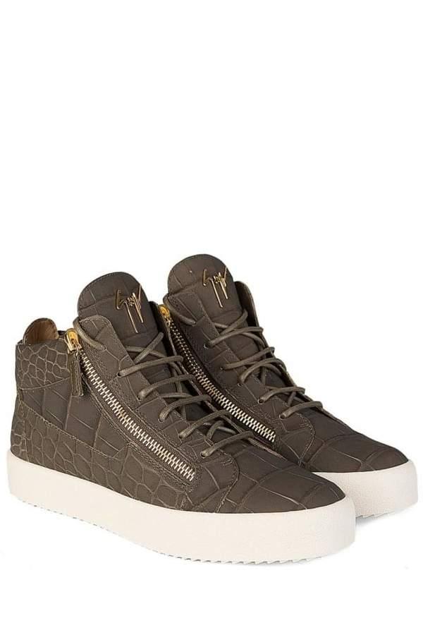 GiuseppeZanottiMidMattCrocSneakersKhaki
