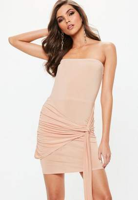Missguided Nude Slinky Bandeau Tie Side Bodycon Dress, Pink