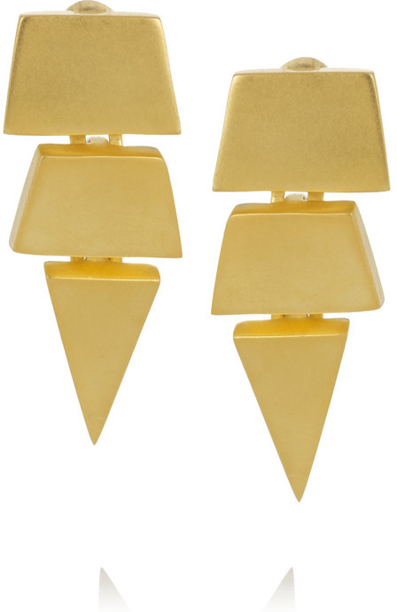 Eddie Borgo Triangle matte gold-plated earrings