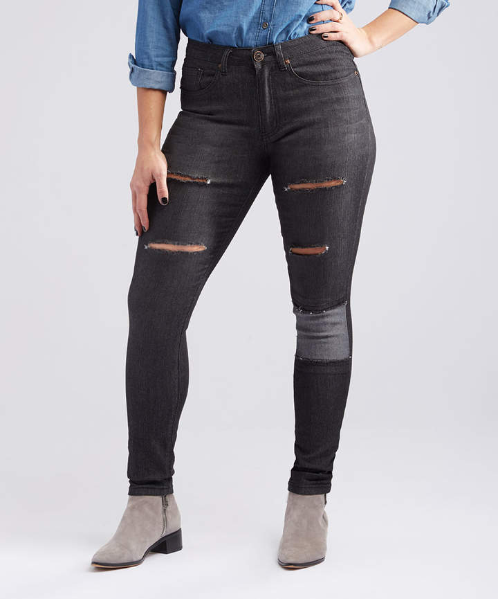 Black Distressed Patch-Accent Skinny Jeans - Women