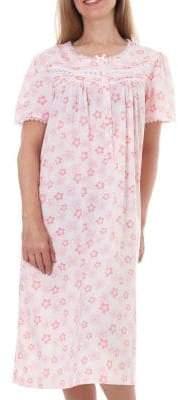 Jasmine Rose Floral Lace Satin Trim Midi Nightgown