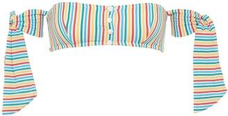 Solid & Striped 'The Mackenzie' tie stripe seersucker off-shoulder bikini top