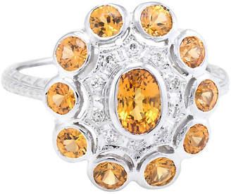 One Kings Lane Vintage Citrine Diamond Princess Cocktail Ring - Precious & Rare Pieces