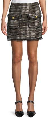 Veronica Beard Margot Short Metallic Tweed Skirt