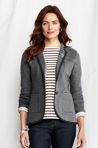 Lands' End Women's Regular Knit Twill Herringbone Jacket