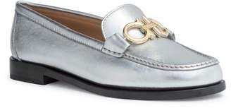 Salvatore Ferragamo Rolo 10 silver leather loafer