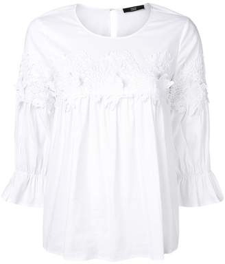 Steffen Schraut lace embroidered flared blouse