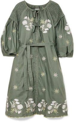 Innika Choo - Smocked Embroidered Linen Dress - Gray green