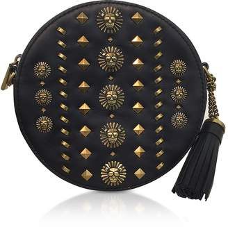 Michael Kors Black Studded Polished Leather Canteen Crossbody
