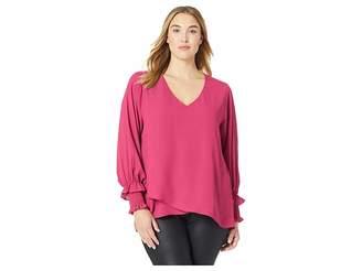 Karen Kane Plus Plus Size Smocked Sleeve Crossover Top Women's Clothing
