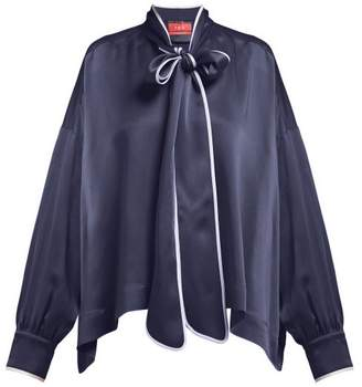 F.R.S For Restless Sleepers F.R.S – For Restless Sleepers Alethia Pussy Bow Crepe Blouse - Womens - Navy