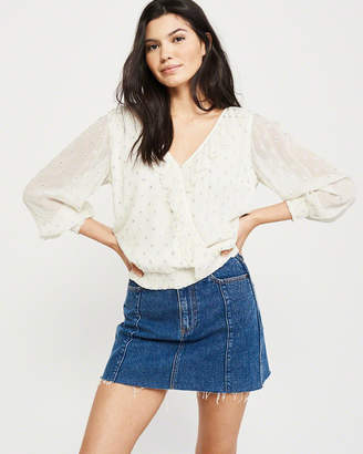 Abercrombie & Fitch Wrap-Front Ruffle Blouse