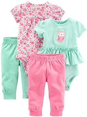 Carter's Simple Joys by Baby Girls' 4-Piece Bodysuit and Pant Set