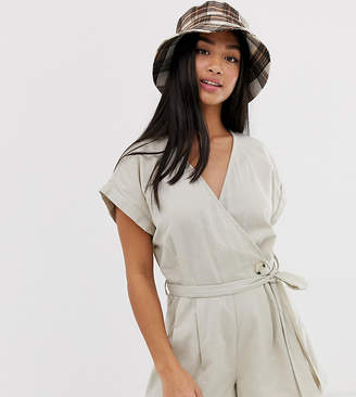 Noisy May Petite linen button detail romper