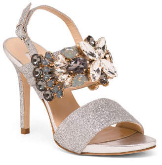Made In Italy Jeweled Leather Dress Sandals