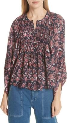Apiece Apart Huerta Floral Print Silk Blouse