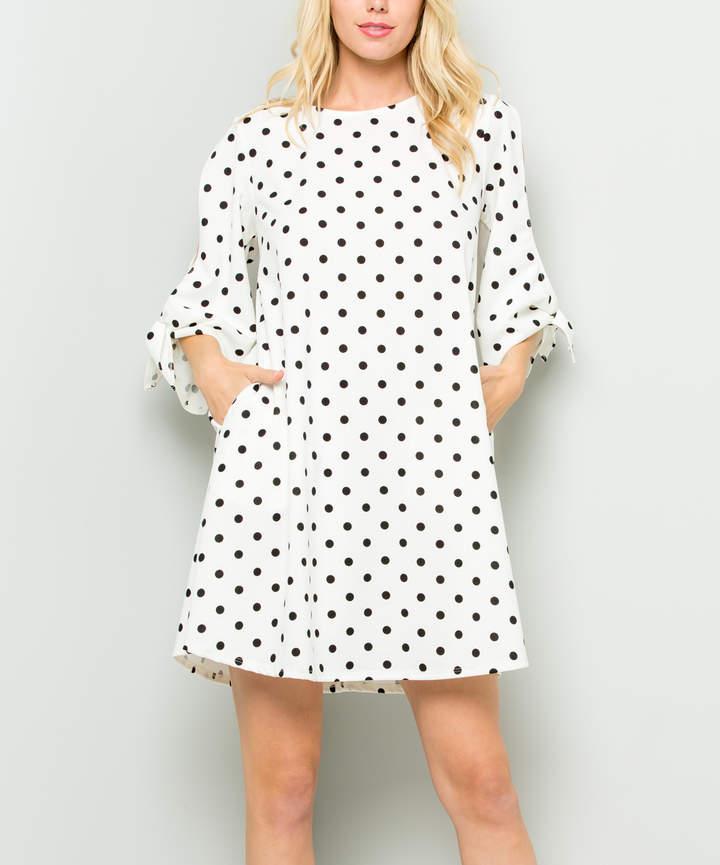 White Polka Dot Cutout Shift Dress - Women & Plus
