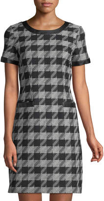 Karl Lagerfeld Paris Short-Sleeve Houndstooth-Tweed Sheath Dress