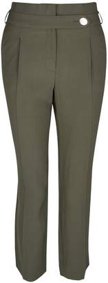 Dorothy Perkins Womens Olive Button Tapered Trousers