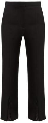 Alexander McQueen Lace Trimmed Slit Cuff Wool Blend Trousers - Womens - Black