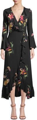 Etro Cascading Ruffled Floral-Print Silk Wrap Dress