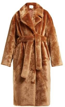 Tibi Belted Faux Fur Coat - Womens - Brown