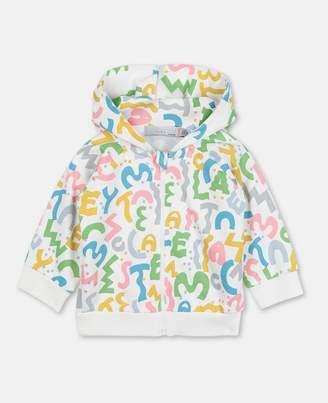 Stella McCartney Letters Zip-Up Cotton Hoodie, Unisex