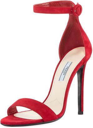 Prada Dressy High-Heel Suede Sandal
