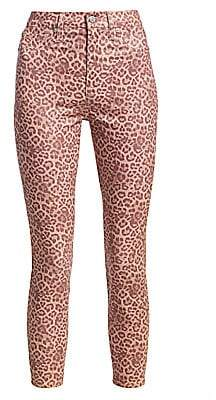 7 For All Mankind Women's High-Rise Leopard Ankle Skinny Jeans