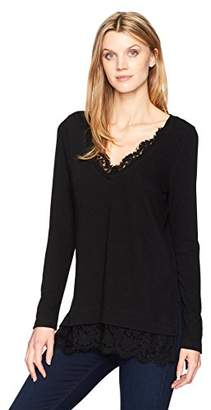 e6853a699329 at Amazon.com · Karen Kane Women s Lace Inset V-Neck Sweater
